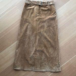Vintage 100% leather suede skirt w/removable belt